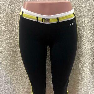 BEBE Sport Black Capri Belted Leggings. Size M